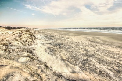 Jekyll Island Beach Sand Blowing in South Along the Ocean at Sunset