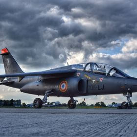 French Air Force Alpha Jet sat on the ground at Northolt.