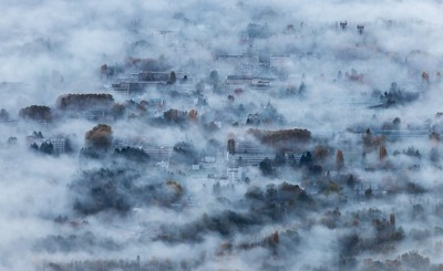 Morning fog on Grenoble, France