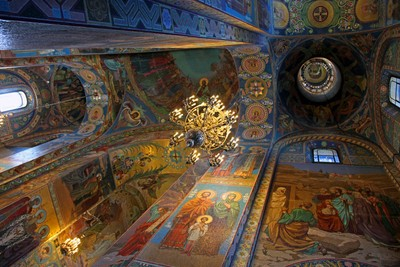 Temple of the Resurrection of Christ Saved on the blood, Saint Petersburg. A view inside the Temple. Ceiling painting. Photo 02.