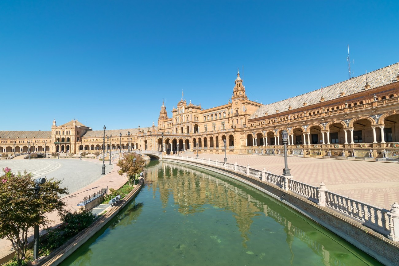 a view from the moat around Plaza De Espana in Seville, Spain