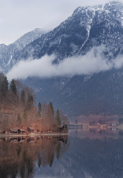 Cabins at Hallstatter lake
