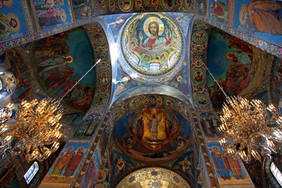 Temple of the Resurrection of Christ Saved on the blood, Saint Petersburg. A view inside the Temple. Ceiling painting. Photo 05.