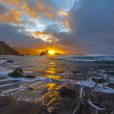 Sunset at Benijo beach, north Tenerife.