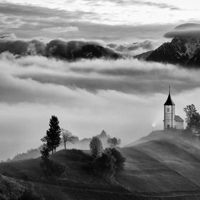 Autumn in the alps, Slovenia around the village Jamnik - panorama