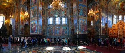 Temple of the Resurrection of Christ Saved on the blood, Saint Petersburg. A view inside the Cathedral. Panorama inside the temple. Photo 07.