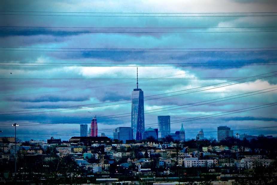 Skyline view of Manhattan from a hilly street in Secaucus, NJ.  I was visiting our son, got out o...