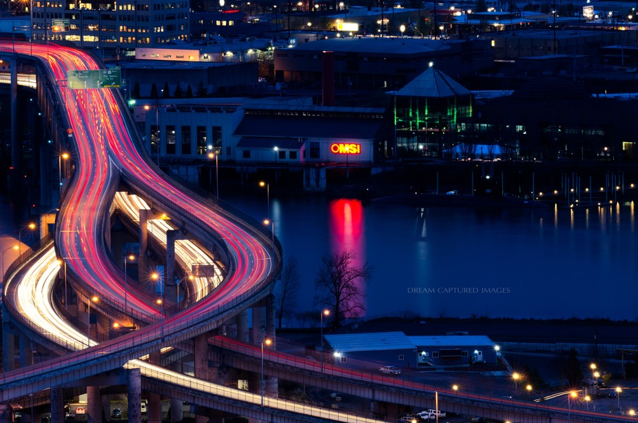 The Marquam Bridge at night.  When the Marquam Bridge was built the Portland Arts Commission made...