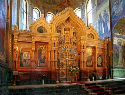 Temple of the Resurrection of Christ Saved on the blood, Saint Petersburg. The altar of the Temple. Photo 09.