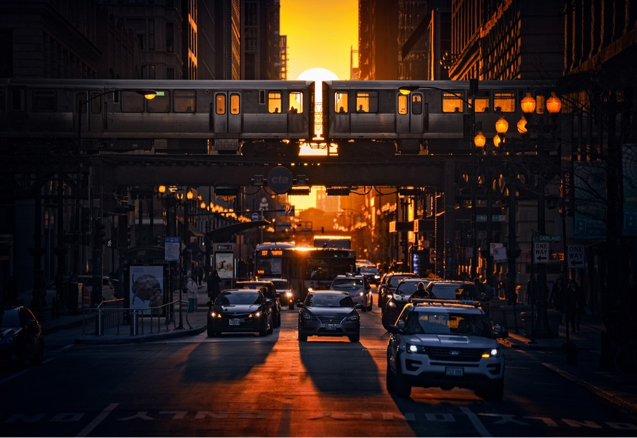 The warm glow of Chicagohenge.