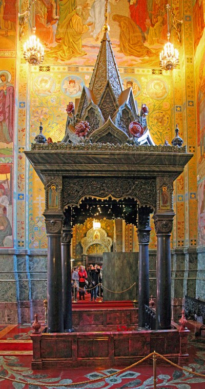 Temple of the Resurrection of Christ Saved on the blood, Saint Petersburg. A view inside the Temple. Memorial with a fragment of the pavement with the blood of the Emperor of Russia. Photo 11.