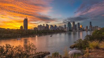 Brisbane city just after sunset