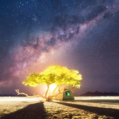 A short story about the Universe, the Moon and a small tent under the tree somewhere on planet Earth (Namibia, Sossusvlei)