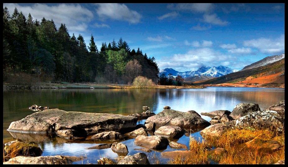 Taken on the edge of the twin lakes (Llynnau Mymbyr) near the village of Capel Curig in Wales. Th...