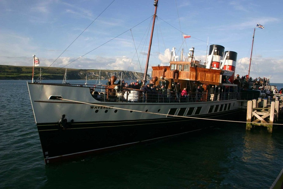 Paddle Steamer Waverley Docking in Swanage