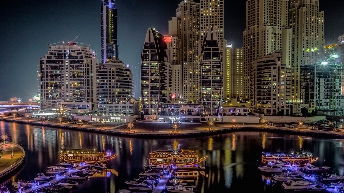 A night view of the entrance to Dubai Marina, United Arab Emirates