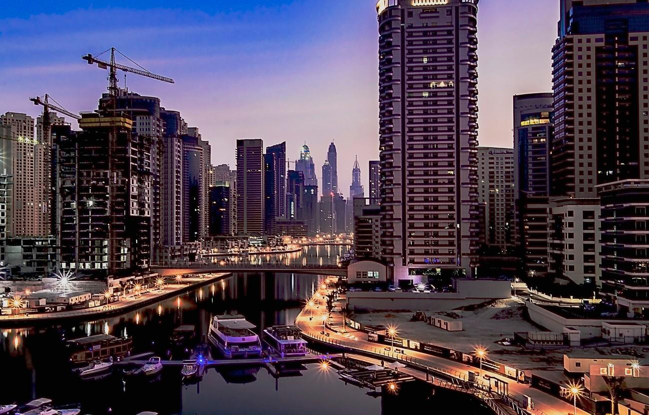 Dawn light over Dubai marina, United Arab Emirates