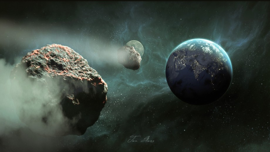 Destination Earth. I made the earth, moon and asteroids in blender and did the rest in photoshop....