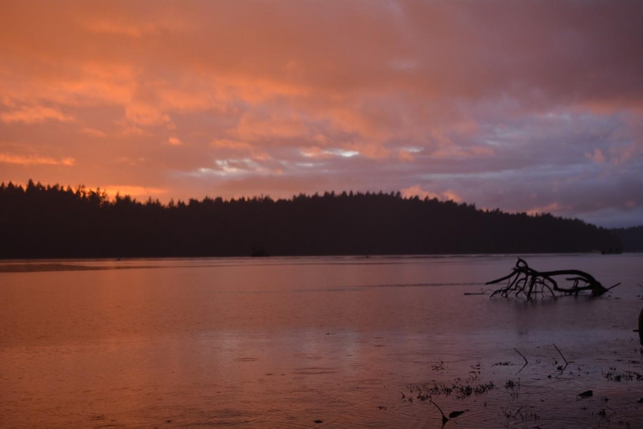 PNW sunset on Harstine Island, Washington midsummer surprise showers