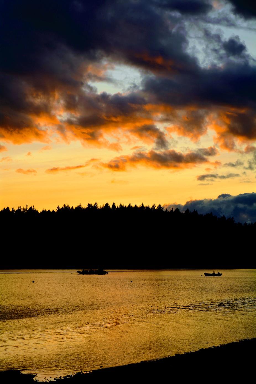 Sunset, midsummer in Mason County,  Washington. Peale Passage.