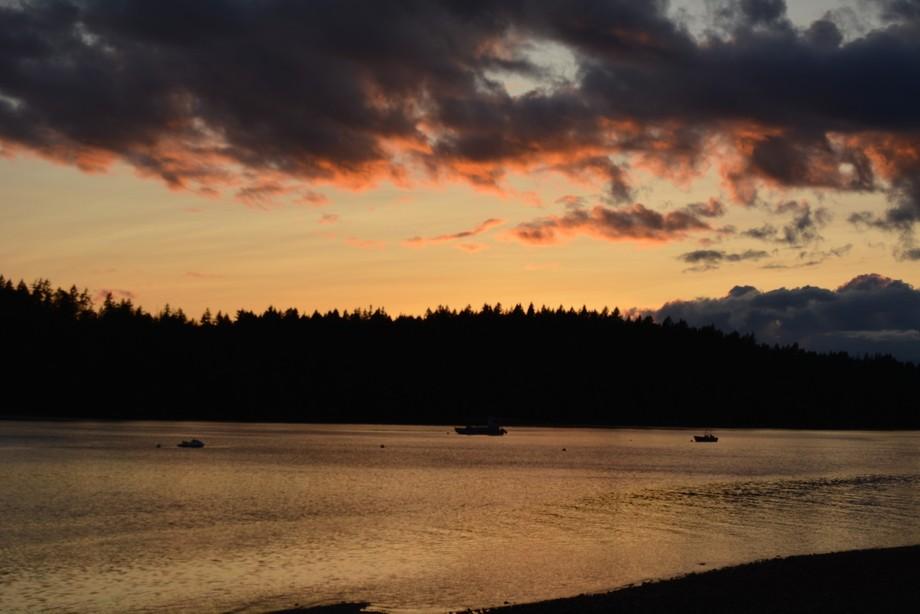 Peale Passage from Harstine Island,  Washington. Sunset,  midsummer .