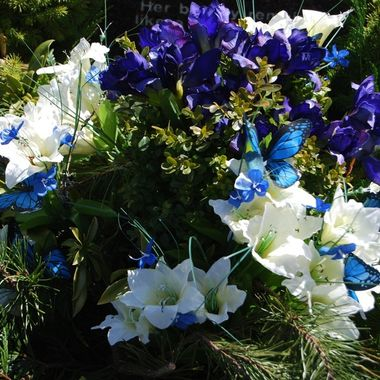 Nice Blue Butterflies on a lovely Spring bouquet - April 4, 2018