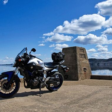 My Yamaha FZ-07 on the Public Landing Wharf, NB, Canada.
