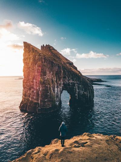 Wanderer on the Edge Grangarnir view sunset