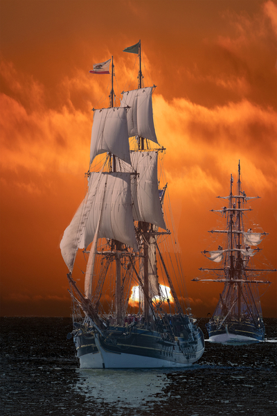 Two Brigs, Lady Washington in SF Bay on 20170318, Clouds and Sunset HMB 20180219  #101 of 365