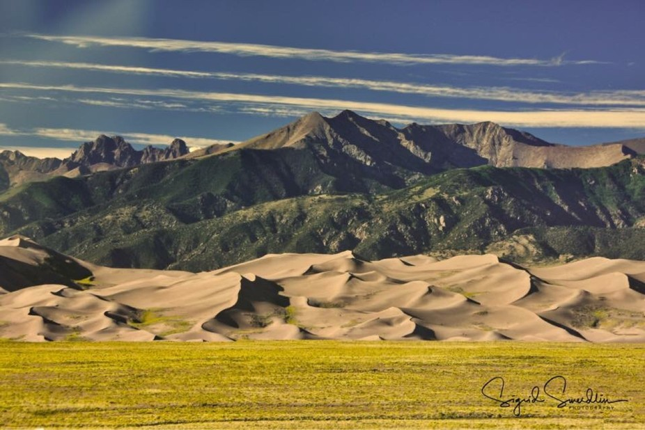 The Great San Dunes in southern Colorado look small in front of the mountain range, but are by th...