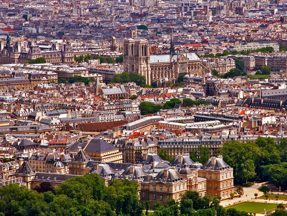 From the observation deck of the 689-ft. tall Montparnasse Tower one gets great views of Paris. Because of the foreshortening effect of the telephoto lens it isn't obvious that Notre Dame is actually sitting on an island in the middle of the River Seine.  Details: Canon EOS 5D, Canon 28-135 mm IS lens at 135 mm, ISO 200, f/13, 1/100 sec.