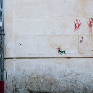 Handprints on a wall in Sorrento, Italy