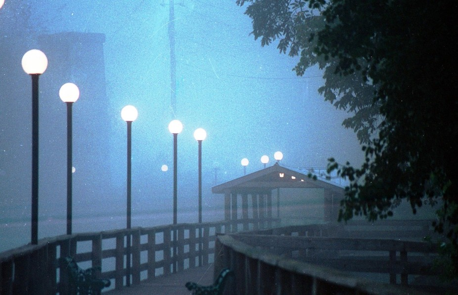 I was driving to work one foggy early morning. I could see the boardwalk across the river. I happ...