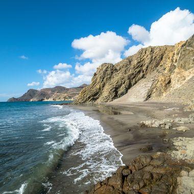 a beautiful beach cliff scene from Almeria, Spain