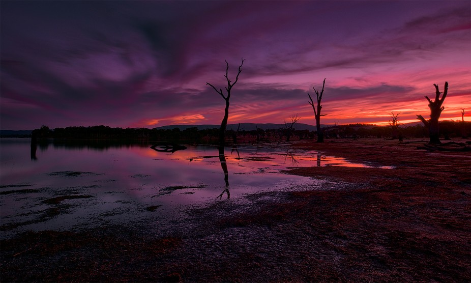 View over Lake Lonsdale near The Grampians, Victoria, Australia at dusk.