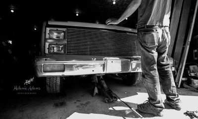 2 hrs before his wedding, finishing the last minute details on his truck