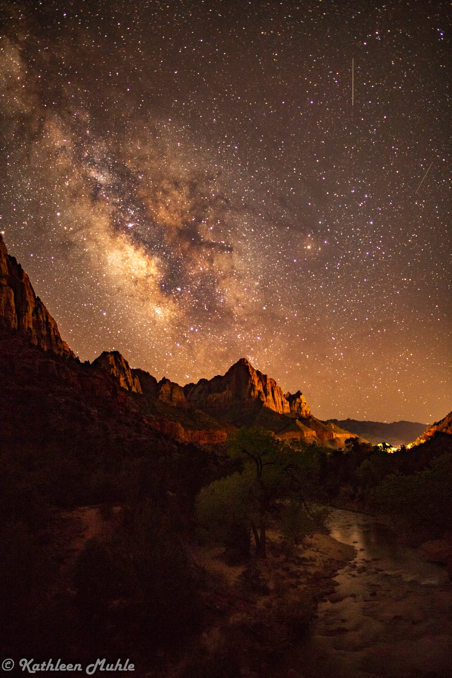Zion Milky Way with Springdale Lights by kathymuhle - Capture The Milky Way Photo Contest
