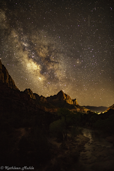 Zion Milky Way with Springdale Lights