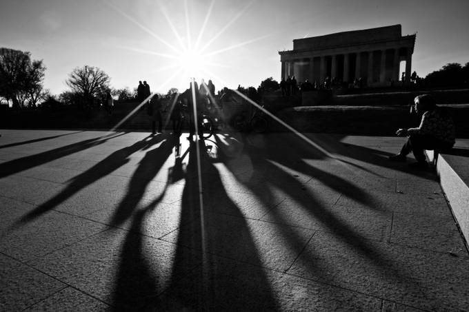Shadows at the Lincoln Memorial III by Robert222 - City Sunsets Photo Contest