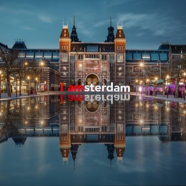 "Blue hours shot of the Rijksmuseum with the well known ""I amsterdam"" sign with a gorgeous reflection"