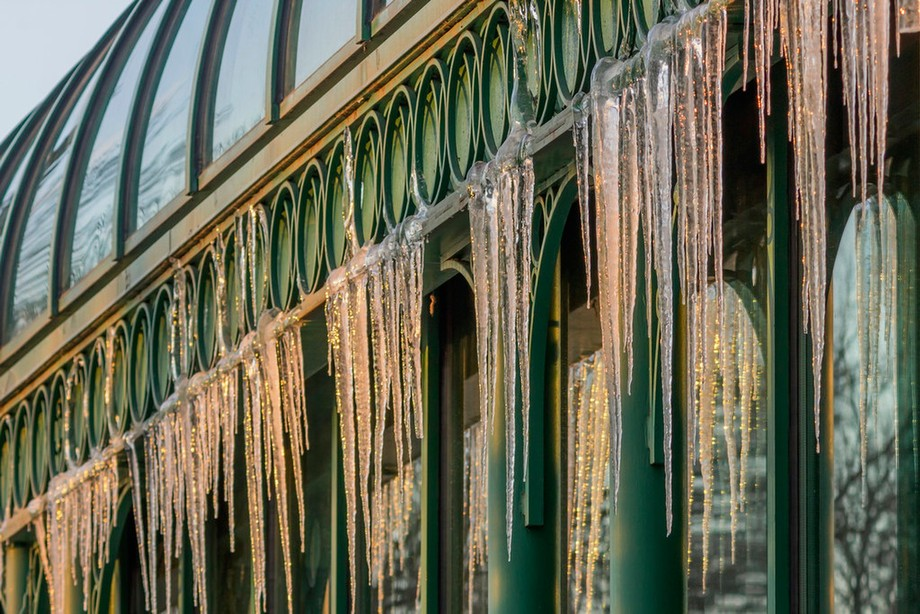 Draped Icicles at Sunset