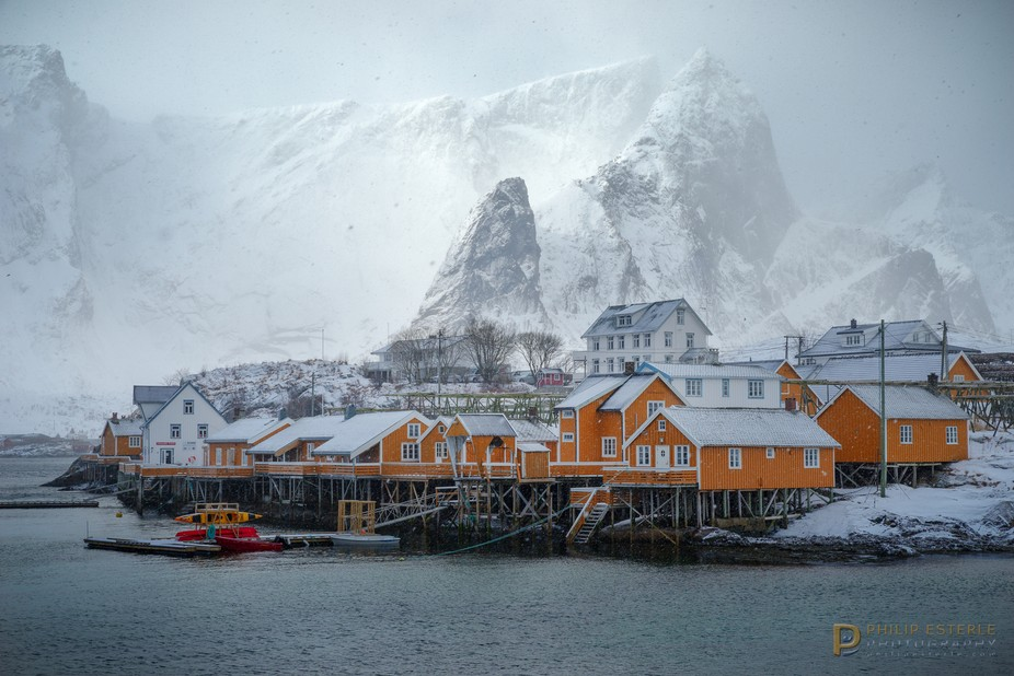 Sakrisøya, through wind and snow.  Reine, Nordland, Norway March 18, 2018  PENTAX K-1, HD PENTAX...