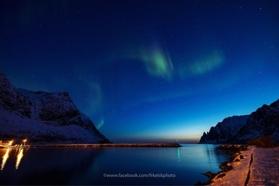 The aurora season is over for now. This is taken 13. April. Now the nights gets brighter and we are waiting for the midnight sun
