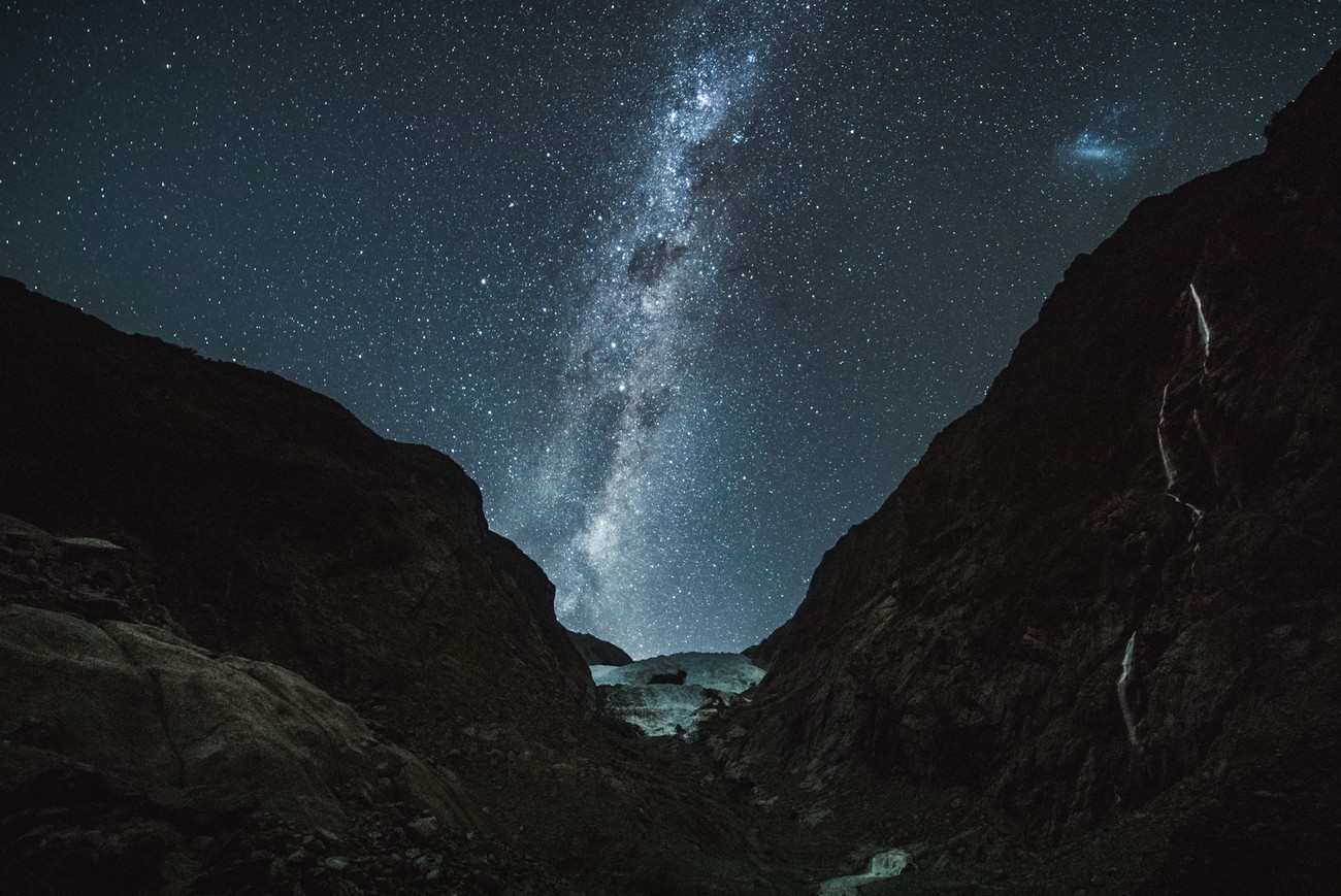 Franz Josef glacier seems to melt into a galaxy here, if only it wasn't melting for real...