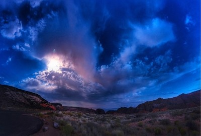 Moonrise over Snow Canyon State Park -Ivins, Utah with @steadsok and Jack   Pano 2x3 grid hdr.