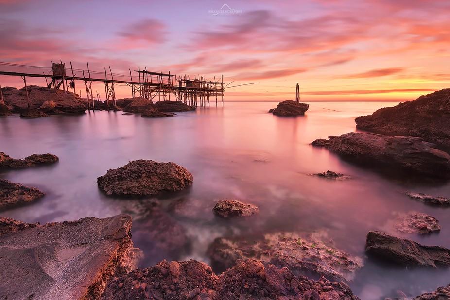 "A new dawn at the coast of trabocchi, in Abruzzo, in the ""trabocco"" of &quo..."