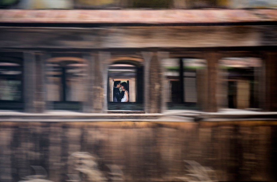 Shot between speeding trains, an intimate moment