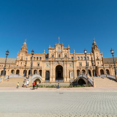 a photo in front of the main building at Plaza De Espana in Seville, Spain