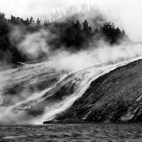 This photograph was made of a waterfall flowing from the Midway Geyser Basin into the Firehole River in Yellowstone National Park.