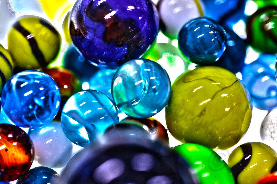 HDR Macro of marbles.